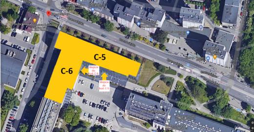 Mapa rozmieszczenia czesci C5 i C6 w budynku Centrum Energetyki AGH