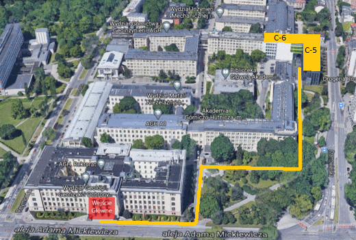 Mapa rozmieszcznia Centrum Energetyki w kampusie AGH